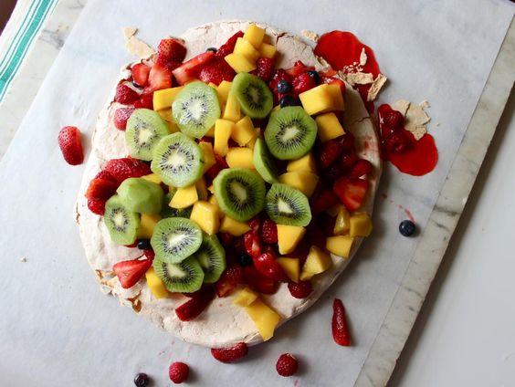 fruit dessert lunches pavlova fresh fruit fruit meringue smoke spring ...