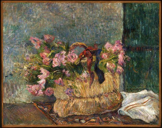 Eugène Henri Paul Gauguin (1848-1903) Still Life with Moss Roses in a Basket 1886. Oil on canvas. 50 x 63.2 cm. Philadelphia Museum of Art, Philadelphia. 1978-1-18.