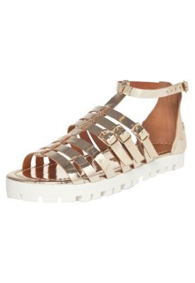 Rasteira Santa Lolla Light Stripes Dourado/Branco