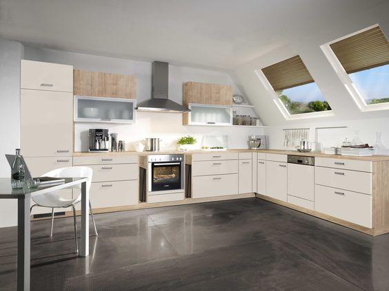 Alnolook u2022u2022 Winkelküche mit Faltklappenschränken in Wildahorn und - küchen ohne elektrogeräte