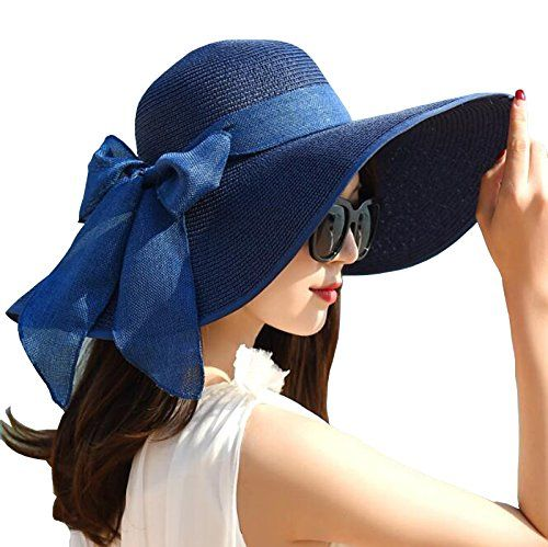 Women Big Bowknot Straw Sun Hat Floppy Foldable Roll Up Uv Protection 50 Beach Cap Color 1 Ladies Dress Hats Elegant Hats Stylish Hats