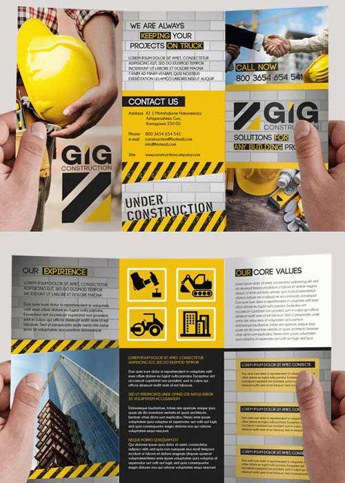 Construction V9 Premium Tri-Fold PSD Brochure Template
