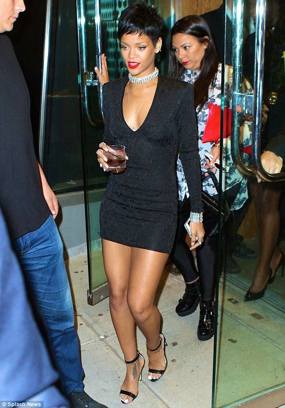 Signature style: Rihanna usually shows some skin and wears sky-high heels