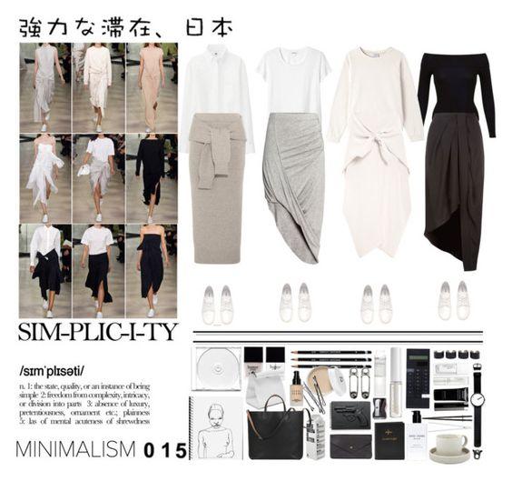 """// Minimalism 015"" by toscadewilt ❤ liked on Polyvore featuring mode, Miss Selfridge, Monki, H&M, Base Range, Kaelen, Uniqlo, Butter London, Givenchy en Double Oak Mills"