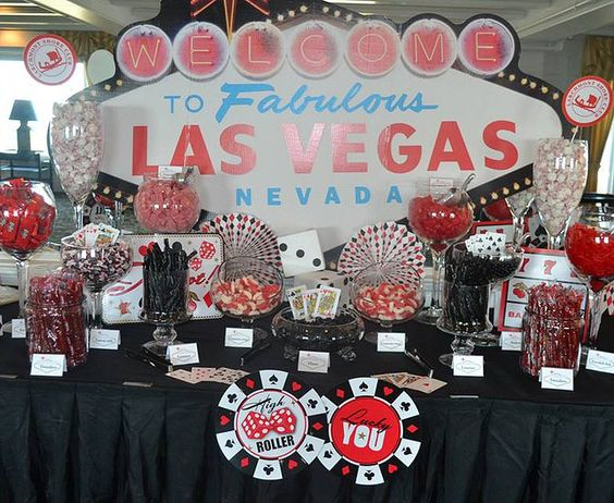 Candy buffet at a Las Vegas casino night party!