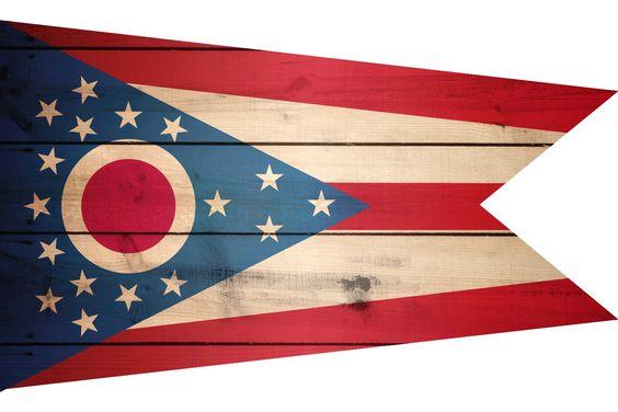 High Resolution Flag of Ohio Wood Texture