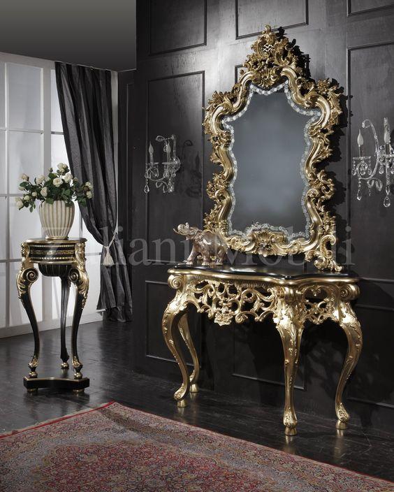 Stupenda ed importante consolle con specchiera in legno di tiglio ...