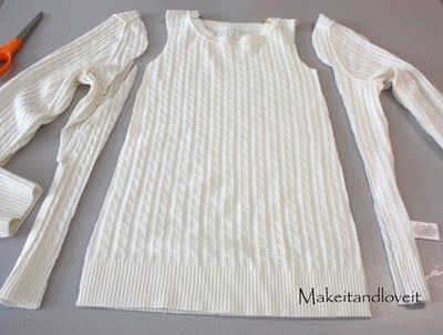 Make a girls' dress from an old sweater.