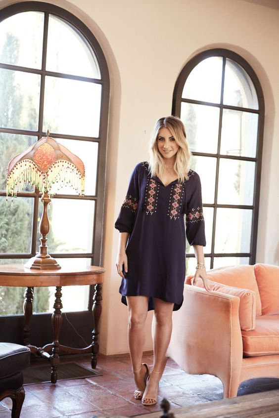 A navy blue folk-art-inspired dress.