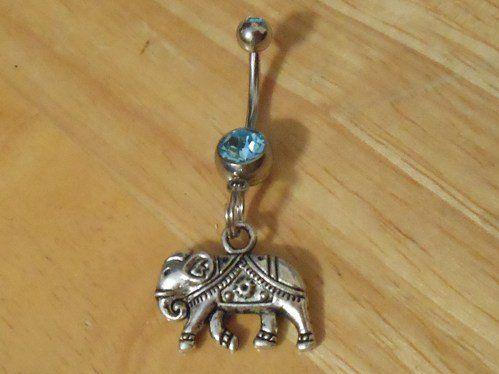#ChelseaJewelsArtfire on Artfire                    #ring                     #Belly #button #ring #Body #Jewelry #Silver #Elephant #with #Blue #Belly #Button #Ring                  Belly button ring - Body Jewelry - Silver Elephant with Blue gem Belly Button Ring                                                http://www.seapai.com/product.aspx?PID=80142