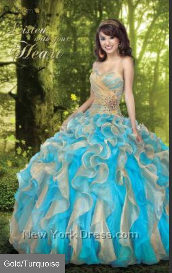 Beautiful Tiffany blue and gold dress - Xv dresses ✋ - Pinterest ...