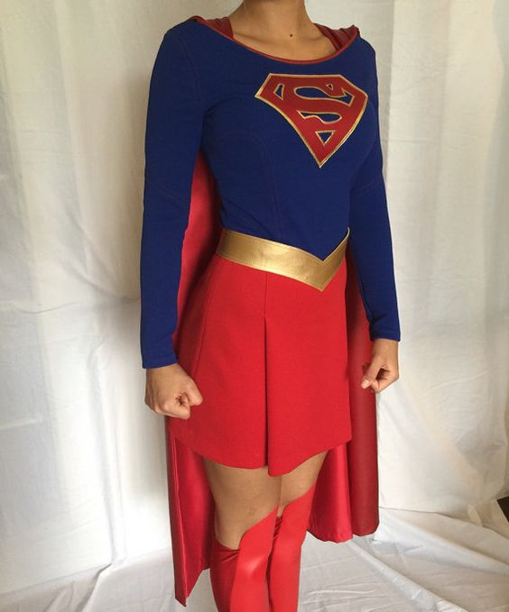 Supergirl Costume with Cape Custom Made Sizes XS-M by delphina123