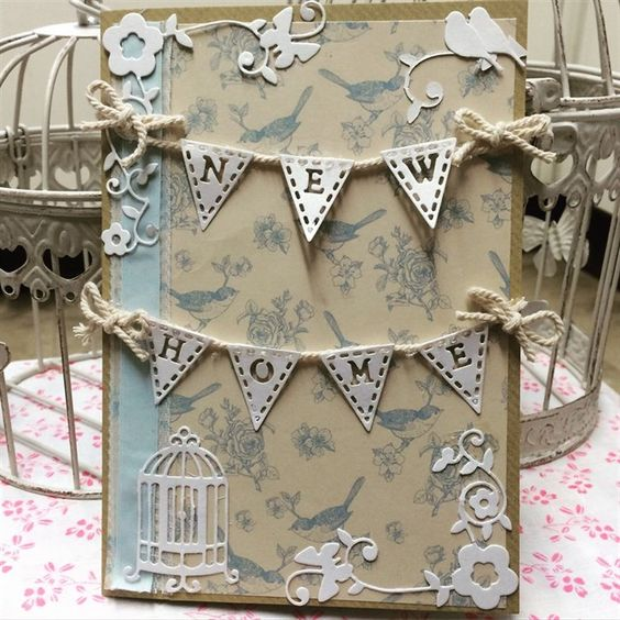 ChrissyBil | docrafts.com Shabby chic style new home birdcage card made using my new Tattered Lace alphabet bunting die