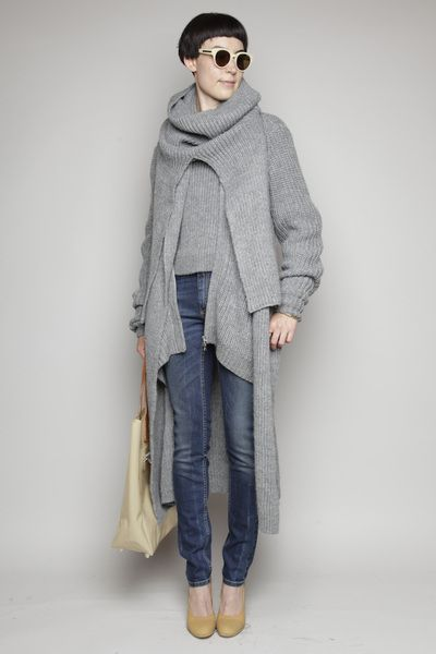 Tops / Black Crane / Long Square Tee      Knits & Cardigans / Carven / Twisted Knit Cardigan      Denim / R13 / Harem Jeans      Heels / Maison Martin Margiela / Sole Pump      Necklaces / Aesa / Reason's Eye Necklace      Rings / Aesa / Double Knot Ring