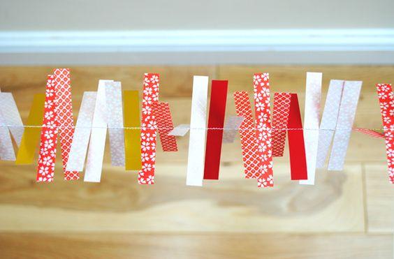 Festive origami decorations- garland of stripes