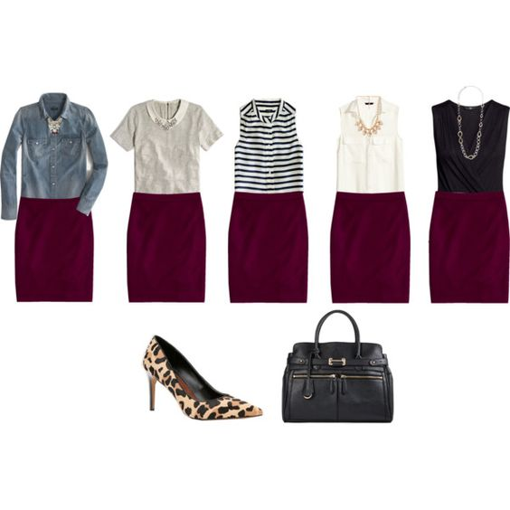 """""""Wine Colored Pencil Skirt Outfit Ideas"""" By Connie-nicole"""