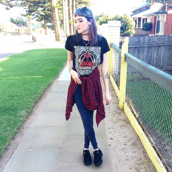 "Kaicee on Instagram: ""Top & leggings from @supre_instagram  #me#ootd#flannelshirt#defleppard#bandtee#bandshirt#leggings#creepers#bluehair#purplehair#pastelhair#tattoochoker#tattoo#ink#90s#grunge#gothic#pastelgoth#edgy#alternative#style#fashion#fashionblogger#nutkaic"""
