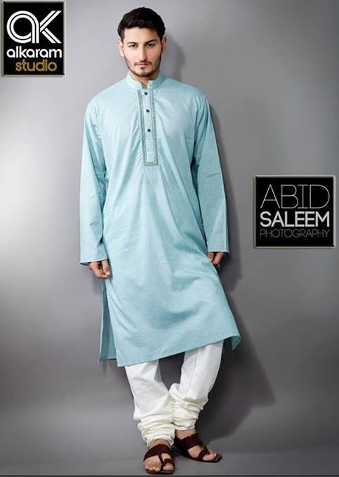 Aqua Blue kurta by Alkaram