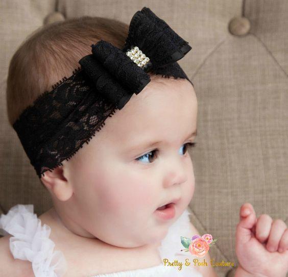 Black baby headband Newborn headband by PrettyandPoshCouture