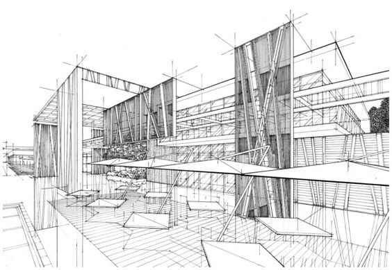 Light construction line pencil drawing layout ready for for Online architecture drawing