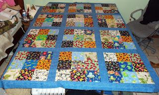 Working on a Frog Garden 9 Patch quilt