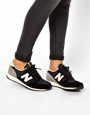 Enlarge New Balance 420 Black And Grey Suede Trainers