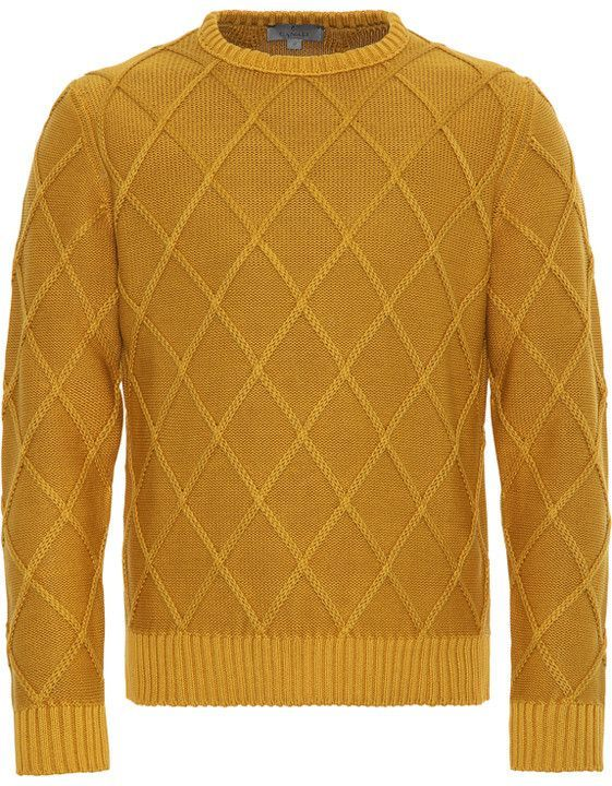 Canali Ochre Yellow Cotton Crew Neck Sweater With Diamond Stitch Menst Shirts Mens Long Sleeve Shirts Casual Knitwear Men Long Sleeve Shirt Men