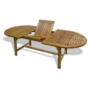 Hampton bay amazon teak 70 in extendable patio dining table 2955 20 at the home depot design Home depot teak patio furniture