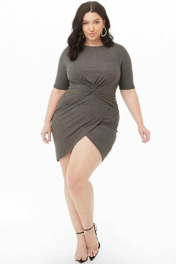 Plus Size Twist-Front Dress