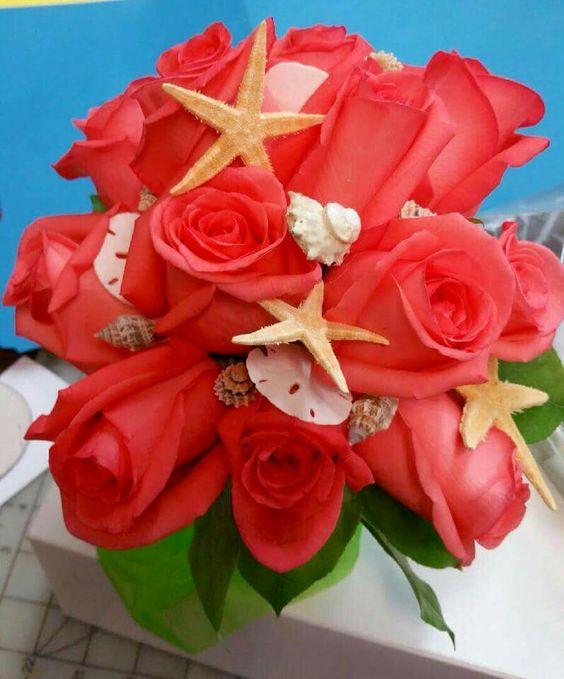 Coral roses and sea shells