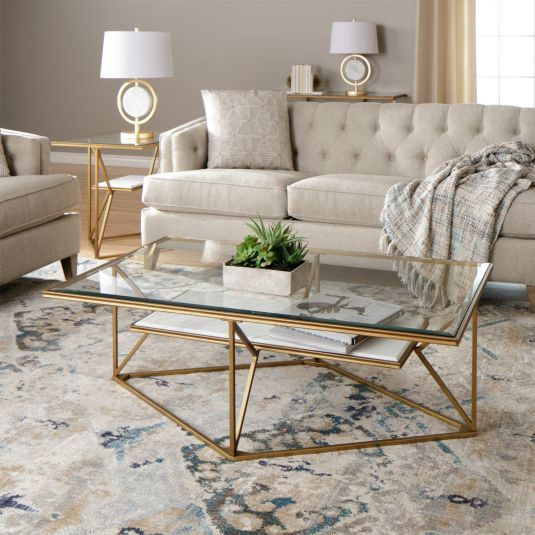 Modern Mixed Media Takes Center Stage In The Dixon Table Collection Geometric Metal Tab Living Room Furniture Tables Table Decor Living Room Living Room Table
