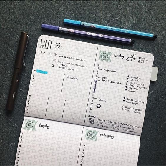 Monday is already over and I am happy to say that it was a productive one. Every week I had this free half page that I don't really use. I thought it could be great to switch some things from my dailies into a little weekly. Do you see the little Instagram stamp? It's so cute.  #bulletjournal#bujojunkies#bulletjournalcommunity#planner#plannercommunity#plannergirl#filofax#filofaxing#stationary#wearebujo#germanbujojunkies#plannerstamps#sweetstampshop#studiol2e