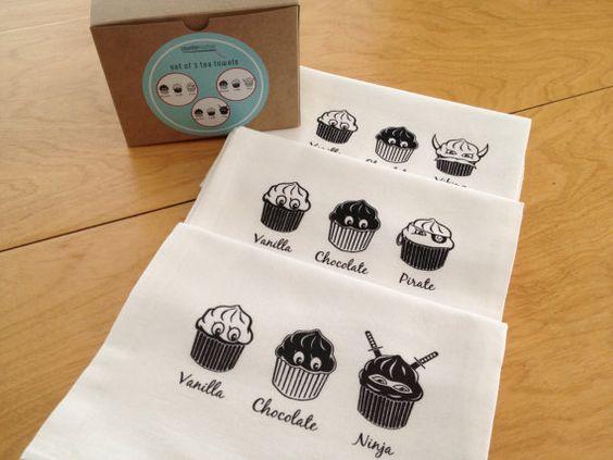 Screen Printed Ninja Cupcake Kitchen Towel by countercouturedesign, $27.00