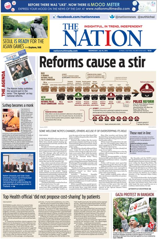 Reforms cause a stir -- The NATION Front Page , July 16, 2014   http://www.nationmultimedia.com/politics/Reforms-cause-a-stir-30238611.html