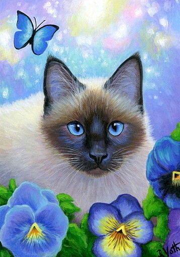 ACEO original siamese cat pansy flower summer garden painting art | eBay