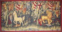 Jugendstil Wandteppich Artus Legende Löwe und Einhorn mit Wappen Gralsritter klein