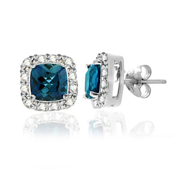 (73% off) Sparkling London blue topaz gemstones are the centerpiece of these stunning stud earrings. These earrings feature two genuine 6mm cushion-cut London blue topaz gemstones and are accented by white diamonds. These highly polished earrings are crafted of sterling silver and secured by post with friction backs.