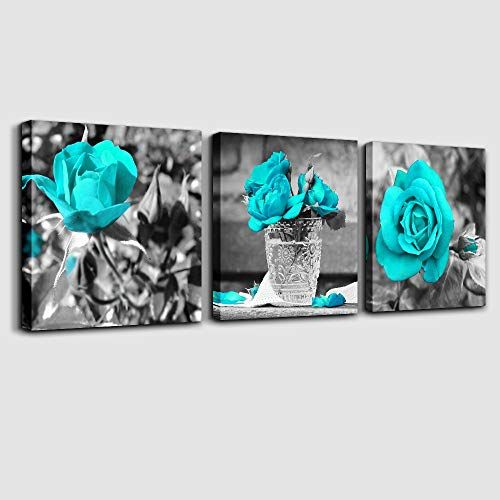 TEAL TURQUOISE ROSE BLACK /& WHITE CANVAS PRINT WALL ART PICTURE 18 X 32 INCH