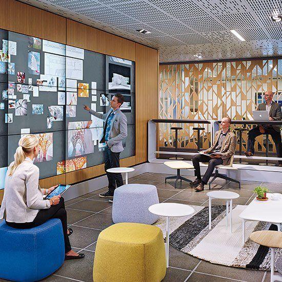 Designed By Jeff Reuschel Bluescape Is An Infinite Collaborative Workspace Des In 2020 Collaborative Workspace Workspace Design Workspace Inspiration