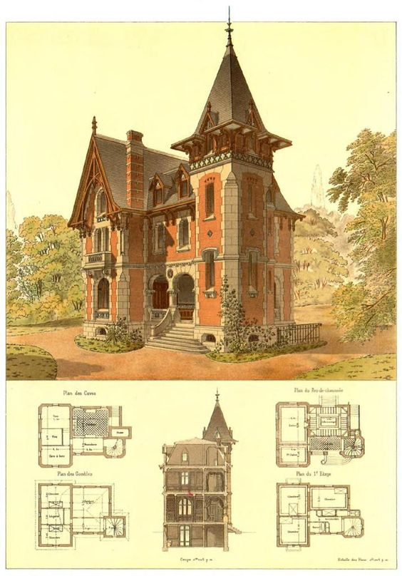 Victorian victorian architecture and the large on pinterest for Architectural drawings for houses