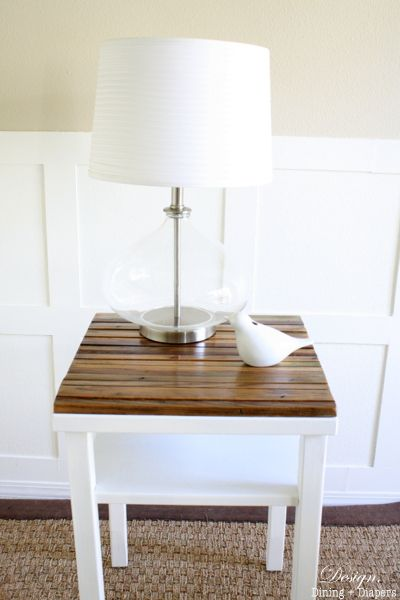 Upcycled Side Table Using Reclaimed Wood from designdininganddiapers.com #diy #reclaimed wood
