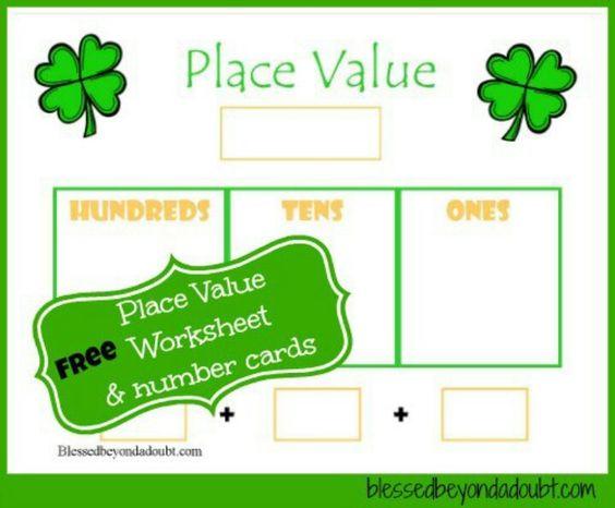 Shamrock place value worksheet and number cards | Homeschool: Math ...