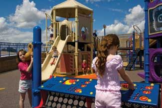 Adventure Island is a Universally Accessible Playground located in Meridian's Settler's Park at Meridian and Ustick Roads. (3401 S Meridian Rd)  A park for kids to play at, rock climbing, and also has water to play in as well that shoots out of the ground