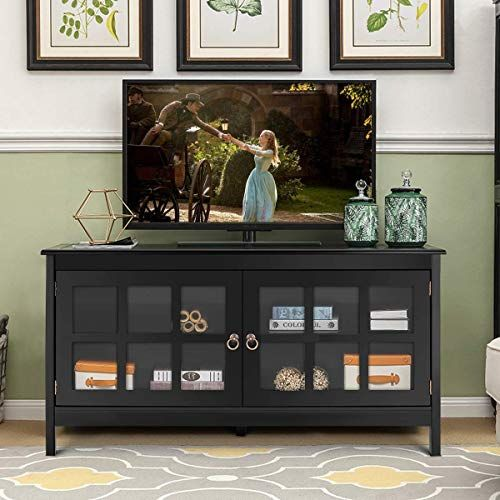 New Tangkula Tv Stand Modern Wood Large Wide Entertainment Center Tv 50 Living Room Media Console Cabinet Stand 2 Doors Black Online Console Furniture Wood Entertainment Center Furniture