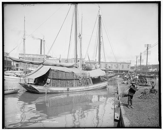 Charcoal boats in Old Basin, New Orleans, La.