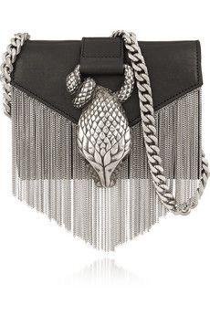 Saint Laurent Chain-fringed embellished leather shoulder bag   NET-A-PORTER