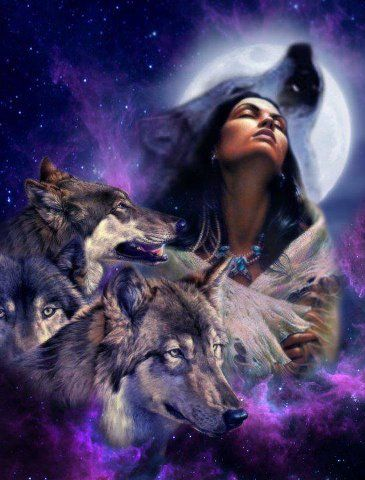 Indian Maiden and Wolves