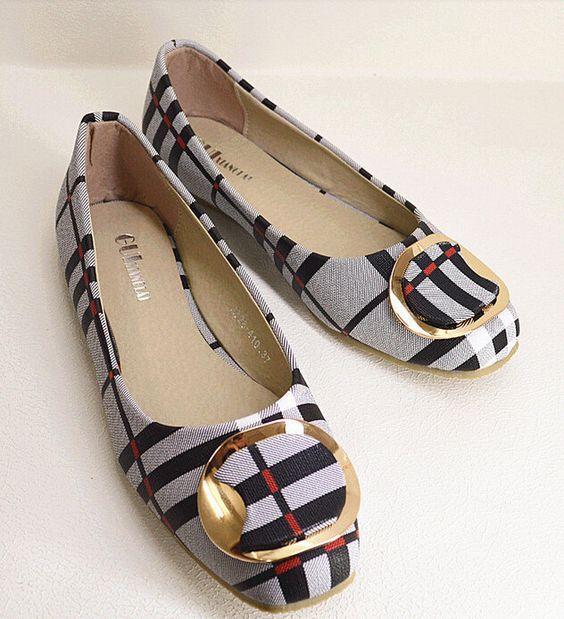 Women Flat Ballet Shoe Plaid Pattern Bow Square Toe Slip On Luxury Canvas
