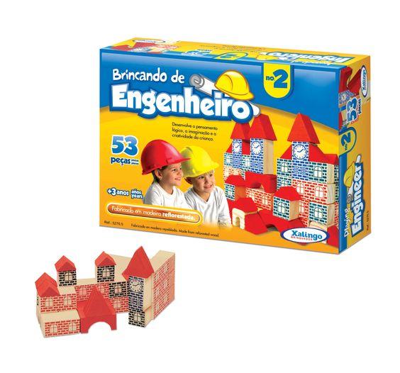 5276.5 - Brincando de Engenheiro Nº 2 | Com 53 peças em madeira. | Faixa etária: + 3 anos | Medidas: 24 x 5 x 18 cm | Educativos | Xalingo Brinquedos | Crianças