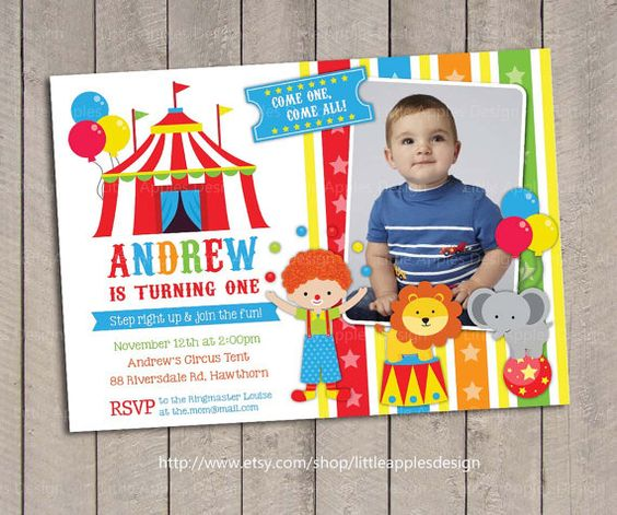 Printable Circus Ticket Birthday Photo Invitation Carnival